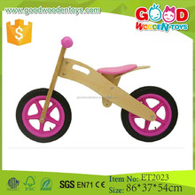 China plywood pink color wooden push bike for kids