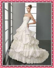 New Arrival Luxury Ruffled Layered Puff On Sale Wholesale Custom Bridal Wedding dress 2012 Wedding Gown AIW-164
