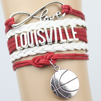 Top Quality Infinity Love LOUISVILLE basketball Team Bracelet red black Customized Wristband friendship Bracelets