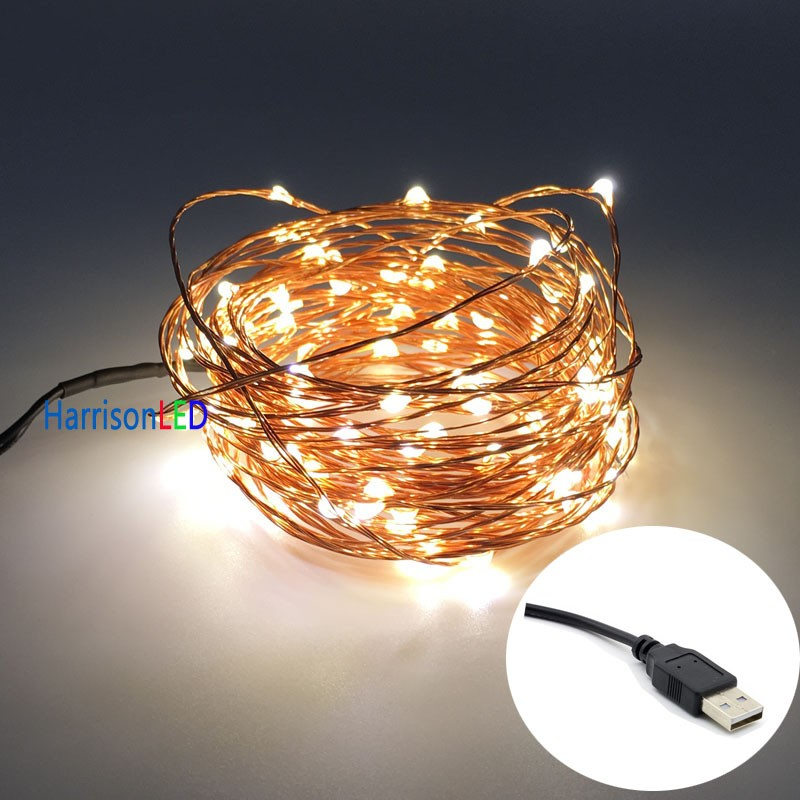 Silver Copper Green Red Black Clear Wire Dimmable Led String Lights ...