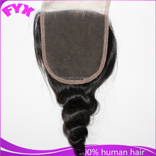 New products 7a grade human hair loose wave bangs lace closure,free parting lace closure