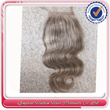Qingdao factory can supply 4*4 unprocessed wholesale virgin brazilian hair grey hair top closure