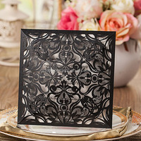 Wholesale Die Cut Shape Floral Laser Black Invitation Wedding Card Design