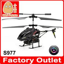Wl s977 3.5 canales de radio control remoto de metal girocompás rc helicóptero con la cámara