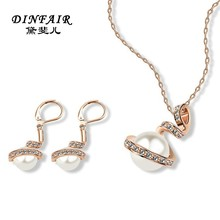 2015 top fashion designer jewelry 18K gold plated pearl jewelry set with China jewelry factory price
