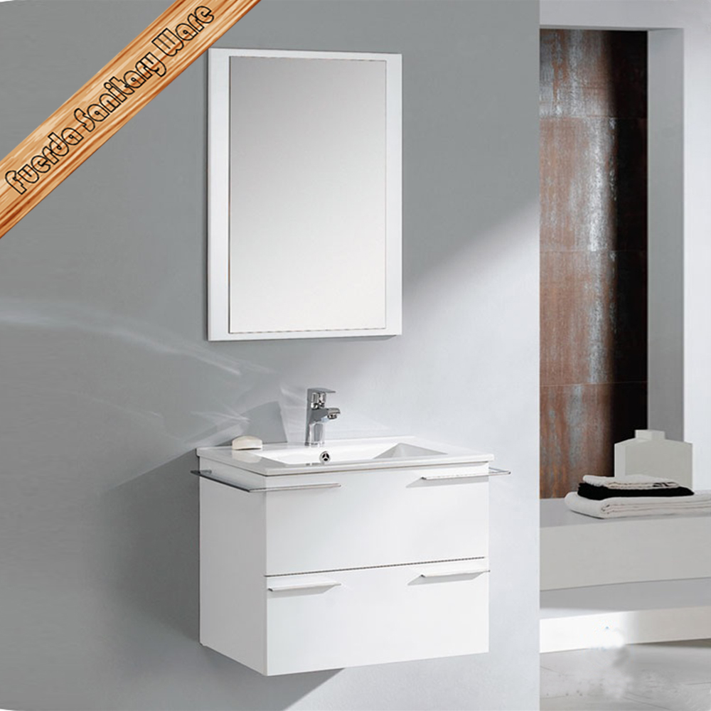 600mm small white hung solid wood bathroom cabinet vanity