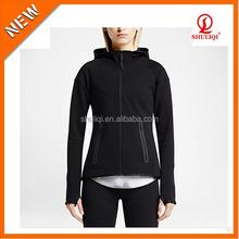 Plain Black Zip Thumb holes Hoodie couple full zip hoodie jacket sets with nylon zip