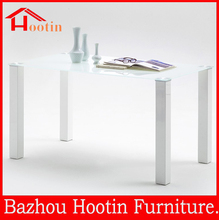 best selling modern high gloss wood base glass dining room table