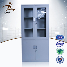 China office furniture promotional price durable lockable storage 2 glass door steel storage cabinet