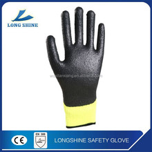 CE EN388 high quality black latex coated safety working gloves
