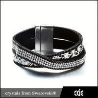 Crystals from Swarovski Jewelry Velvet Double Wrap Leather Bracelet