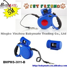 BMPMS-3011-B Ningbo Babymate 5M Strong Nylon Retractable Dog Leash with Waste Poop Bag Wholesale