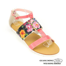 printing upper open toe ankle strap leather 2015 ladies sandal shoes latest design slipper sandal