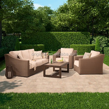 latest design outdoor rattan armchairs with wood composit coffee table used in garden