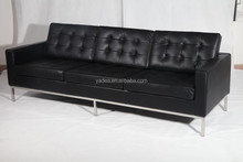 Top quality modern design florence knoll leather sofa 3 seater