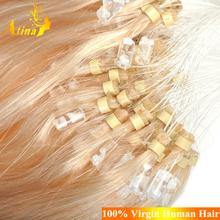 8-30 inch Brazilian straight virgin human hair pre bonded lightest blonde micro bead hair extensions 1g strand