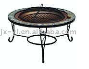 metal outdoor mosaic BBQ fire pit