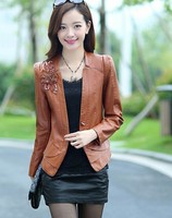 EY0076A fashion factory price ladies jacket women clothing pu/polyester leather jacket