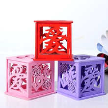 Custom hollow out wooden wedding favor candy boxes for gift