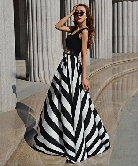 vestidos casuales largos rayas