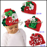 2014 New arrival flower knitted christmas baby flowers hats