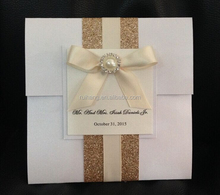 personalized square royal paper with gold glitter paper wholesale wedding invitation card