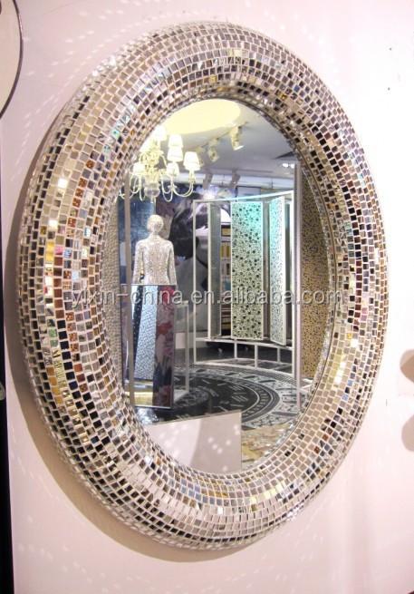 Squisita parco giochi forma colore verde scuro specchio di vetro mosaico bagno specchio specchio for Silver sparkle bathroom mirror
