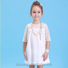 2015 summer newstyle fashion baby Pierced lace O-neck short sleeve 100% cotton matching girl casual dresse
