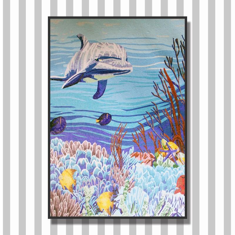 Ztclj jy jh oc01 ocean theme bathroom tile lowes glass for Dolphin tile mural