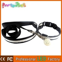 Customized logo flashing LED dog leash and collar pendant