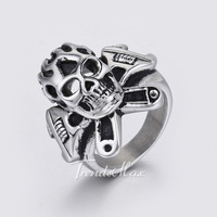Trendsmax 30mm Punk Mens Boys Black Silver Tone Wrench Cross Flame Skull Ring 316L Stainless Steel Ring