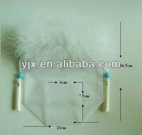 Flat Bottom Organza Bag with Feather Top