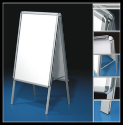 High quality Aluminum poster board stands_Shops metal double sides pop display sign stand manufactuer