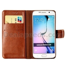 Handmade Weave Pattern Wallet Magnetic Flip Stand PC + PU Leather Case for Samsung Galaxy S6 G9200 Brown