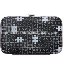 Puzzle print ID case and ladies' wallet