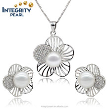 925 sterling silver natural freshwater pearl jewelry sets