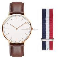 Leather and nato strap rose gold luxury fashion brand watch