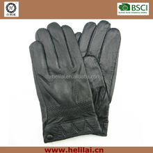 2015 AW Best Sell Men's Winter warm Genuine Lambskin Polyester Lined Classical Leather Gloves with Elastic and Button
