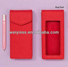 Red genuine leather pen case,leather pen and pencil case
