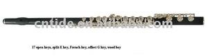 высококачественный профессиональный черного дерева флейта, посеребренные ключи, с твердой деревянной случае