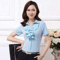 WT255 Short Sleeve Ruffle Women Shirt Office Uniform Wholesale Clothing Work Wear Ladies Fancy Tops