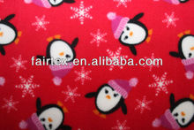 Red Base With Printed Penguin And Heart Micro Fleece