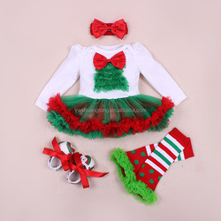 Birthday Pettiskirt ,baby roompers with warmer leg and shoes christmasOUTFIT with long Sleeve, headband