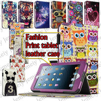 """7.9"""" Tablets Flowers/Tiger Printing Premium Folding PU Leather Media Stand Folio Case Cover + Stylus For ipad Mini 2"""