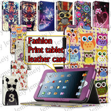 "7.9"" Tablets Flowers/Tiger Printing Premium Folding PU Leather Media Stand Folio Case Cover + Stylus For ipad Mini 2"
