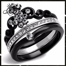 Women's Black Ion Plated Stainless Steel Cubic Zirconia Crown Wedding Ring Band Set Size 5-10