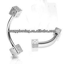 body piercing jewelry 316L stainless steel dice eyebrow