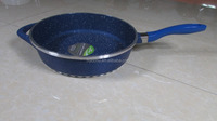 Blue marble stone coating deep frying pan