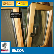 2015 aluminum wood window with double pannel two opening ways window