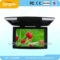 17.5 Inch TFT LCD Roof Mount Monitor Built-in IR For Wireless Headphone